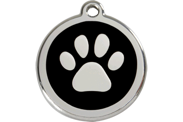 Red Dingo Tiermarke mit Emaille Paw Print Schwarz 01-PP-BB (1PPBS / 1PPBM / 1PPBL)