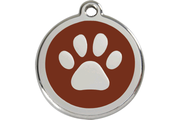 Red Dingo Tiermarke mit Emaille Paw Print Braun 01-PP-BR (1PPBRS / 1PPBRM / 1PPBRL)