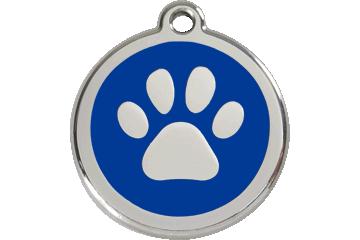 Red Dingo Enamel Tag Paw Print Dark Blue 01-PP-DB (1PPNS / 1PPNM / 1PPNL)