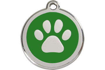 Red Dingo Tiermarke mit Emaille Paw Print Grün 01-PP-GR (1PPGS / 1PPGM / 1PPGL)
