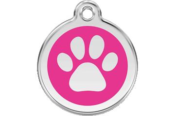 Red Dingo Enamel Tag Paw Print Hot Pink 01-PP-HP (1PPHPS / 1PPHPM / 1PPHPL)