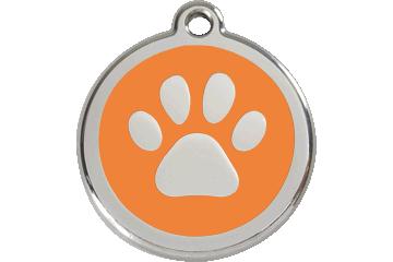 Red Dingo Tiermarke mit Emaille Paw Print Orange 01-PP-OR (1PPOS / 1PPOM / 1PPOL)