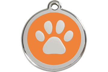 Red Dingo Tiermarke mit Emaille Paw Print Orange 01-PP-OR (1PPOS / 1PPOM / 1PPOL)