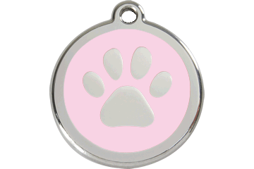 Red Dingo Tiermarke mit Emaille Paw Print Pink 01-PP-PK (1PPPKS / 1PPPKM / 1PPPKL)
