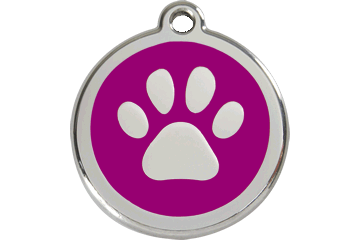 Red Dingo Enamel Tag Paw Print Purple 01-PP-PU (1PPPS / 1PPPM / 1PPPL)