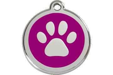 Red Dingo Enamel Tag Paw Print Purple 01-PP-PU (1PPPS / 1PPPM / 1PPPL)