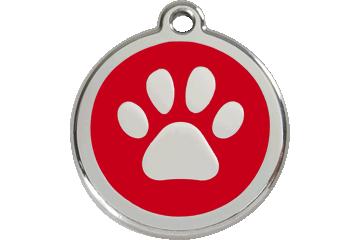 Red Dingo Enamel Tag Paw Print Red 01-PP-RE (1PPRS / 1PPRM / 1PPRL)