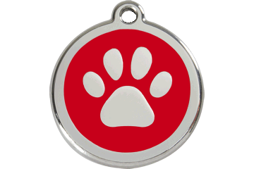 Red Dingo Enamel Tag Paw Print Red 01-PP-RE (1PPRS / 1PPRM / 1PPRL)