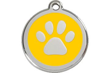 Red Dingo Enamel Tag Paw Print Yellow 01-PP-YE (1PPYS / 1PPYM / 1PPYL)