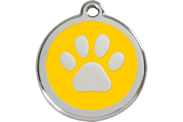 Red Dingo Tiermarke mit Emaille Paw Print Gelb 01-PP-YE (1PPYS / 1PPYM / 1PPYL)