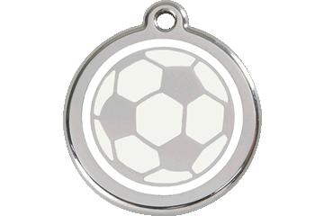Red Dingo Tiermarke mit Emaille Soccer Ball White 01-SB-WT (1SBWS / 1SBWM / 1SBWL)