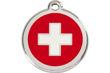 Red Dingo Médaillon en émail Swiss Cross Rouge 01-SC-RE (1SCRS / 1SCRM / 1SCRL)