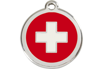 Red Dingo Enamel Tag Swiss Cross Red 01-SC-RE (1SCRS / 1SCRM / 1SCRL)