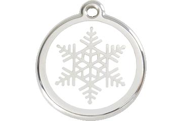 Red Dingo Tiermarke mit Emaille Snow Flake White 01-SF-WT (1SFWS / 1SFWM / 1SFWL)