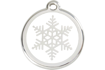 Red Dingo Enamel Tag Snow Flake White 01-SF-WT (1SFWS / 1SFWM / 1SFWL)