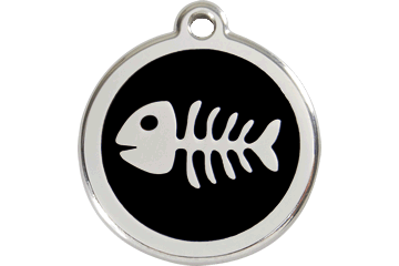 Red Dingo Enamel Tag Fish Bone Black 01-SK-BB (1SKBS / 1SKBM / 1SKBL)