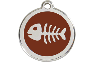 Red Dingo Enamel Tag Fish Bone Marrone 01-SK-BR (1SKBRS / 1SKBRM / 1SKBRL)