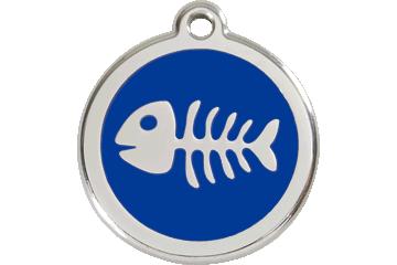 Red Dingo Enamel Tag Fish Bone Dark Blue 01-SK-DB (1SKNS / 1SKNM / 1SKNL)