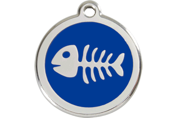 Red Dingo Enamel Tag Fish Bone Dark Blue 01-SK-DB (1SKNS / 1SKNM / 1SKNL)