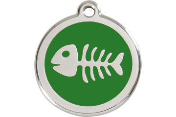 Red Dingo Enamel Tag Fish Bone Green 01-SK-GR (1SKGS / 1SKGM / 1SKGL)