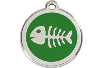 Red Dingo Tiermarke mit Emaille Fish Bone Grün 01-SK-GR (1SKGS / 1SKGM / 1SKGL)