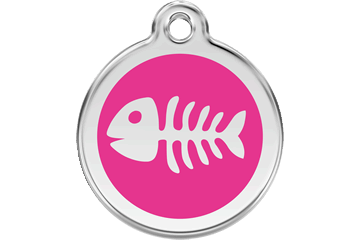 Red Dingo Tiermarke mit Emaille Fish Bone Hot Pink 01-SK-HP (1SKHPS / 1SKHPM / 1SKHPL)