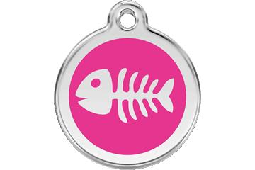 Red Dingo Enamel Tag Fish Bone Hot Pink 01-SK-HP (1SKHPS / 1SKHPM / 1SKHPL)