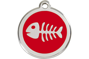 Red Dingo Enamel Tag Fish Bone Red 01-SK-RE (1SKRS / 1SKRM / 1SKRL)