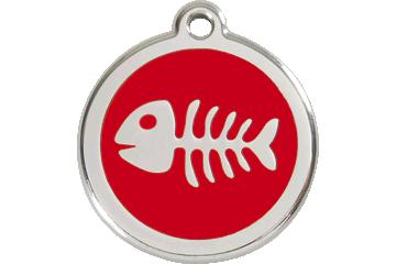 Red Dingo Enamel Tag Fish Bone Red 01-SK-RE (1SKRS / 1SKRM / 1SKRL)