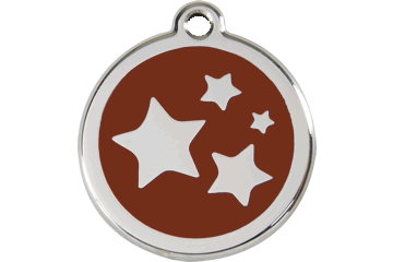 Red Dingo Enamel Tag Stars Brown 01-ST-BR (1STBRS / 1STBRM / 1STBRL)
