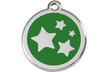 Red Dingo Enamel Tag Stars Green 01-ST-GR (1STGS / 1STGM / 1STGL)