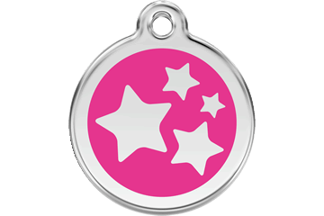 Red Dingo Enamel Tag Stars Hot Pink 01-ST-HP (1STHPS / 1STHPM / 1STHPL)