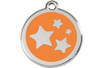 Red Dingo Tiermarke mit Emaille Stars Orange 01-ST-OR (1STOS / 1STOM / 1STOL)