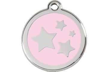 Red Dingo Tiermarke mit Emaille Stars Pink 01-ST-PK (1STPKS / 1STPKM / 1STPKL)