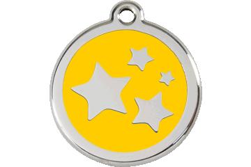 Red Dingo Enamel Tag Stars Yellow 01-ST-YE (1STYS / 1STYM / 1STYL)