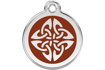 Red Dingo Enamel Tag Tribal Arrows Brown 01-TA-BR (1TABRS / 1TABRM / 1TABRL)