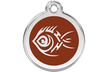 Red Dingo Enamel Tag Tribal Fish Brown 01-TF-BR (1TFBRS / 1TFBRM / 1TFBRL)
