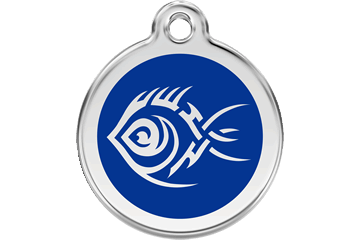 Red Dingo Enamel Tag Tribal Fish Dark Blue 01-TF-DB (1TFNS / 1TFNM / 1TFNL)