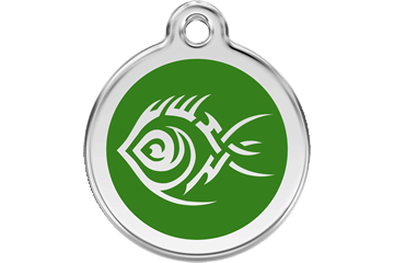 Red Dingo Enamel Tag Tribal Fish Green 01-TF-GR (1TFGS / 1TFGM / 1TFGL)