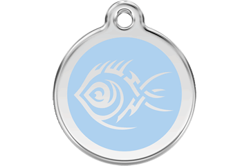 Red Dingo Enamel Tag Tribal Fish Light Blue 01-TF-LB (1TFLBS / 1TFLBM / 1TFLBL)