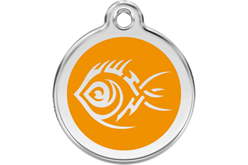 Red Dingo Enamel Tag Tribal Fish Orange 01-TF-OR (1TFOS / 1TFOM / 1TFOL)
