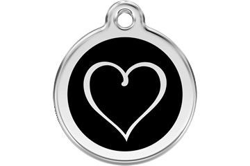 Red Dingo Enamel Tag Tribal Heart Black 01-TH-BB (1THBL / 1THBM / 1THBS)