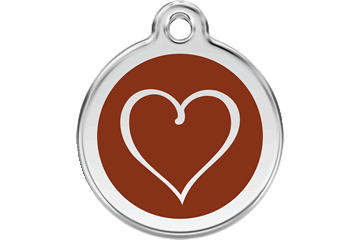 Red Dingo Enamel Tag Tribal Heart Brown 01-TH-BR (1THBRS / 1THBRM / 1THBRL)