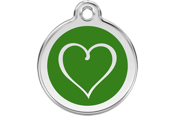 Red Dingo Enamel Tag Tribal Heart Green 01-TH-GR (1THGS / 1THGM / 1THGL)