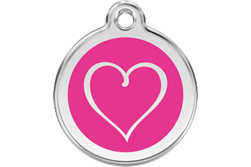 Red Dingo Enamel Tag Tribal Heart Hot Pink 01-TH-HP (1THHPS / 1THHPM / 1THHPL)