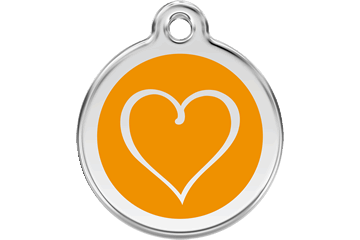Red Dingo Enamel Tag Tribal Heart Orange 01-TH-OR (1THOS / 1THOM / 1THOL)