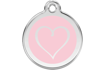 Red Dingo Enamel Tag Tribal Heart Pink 01-TH-PK (1THPKS / 1THPKM / 1THPKL)