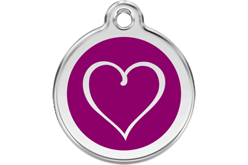Red Dingo Enamel Tag Tribal Heart Purple 01-TH-PU (1THPS / 1THPM / 1THPL)