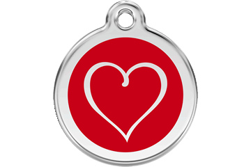 Red Dingo Enamel Tag Tribal Heart Red 01-TH-RE (1THRS / 1THRM / 1THRL)