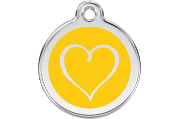 Red Dingo Enamel Tag Tribal Heart Yellow 01-TH-YE (1THYS / 1THYM / 1THYL)